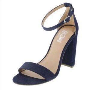 Denim Ankle Strap High Heel Sandal